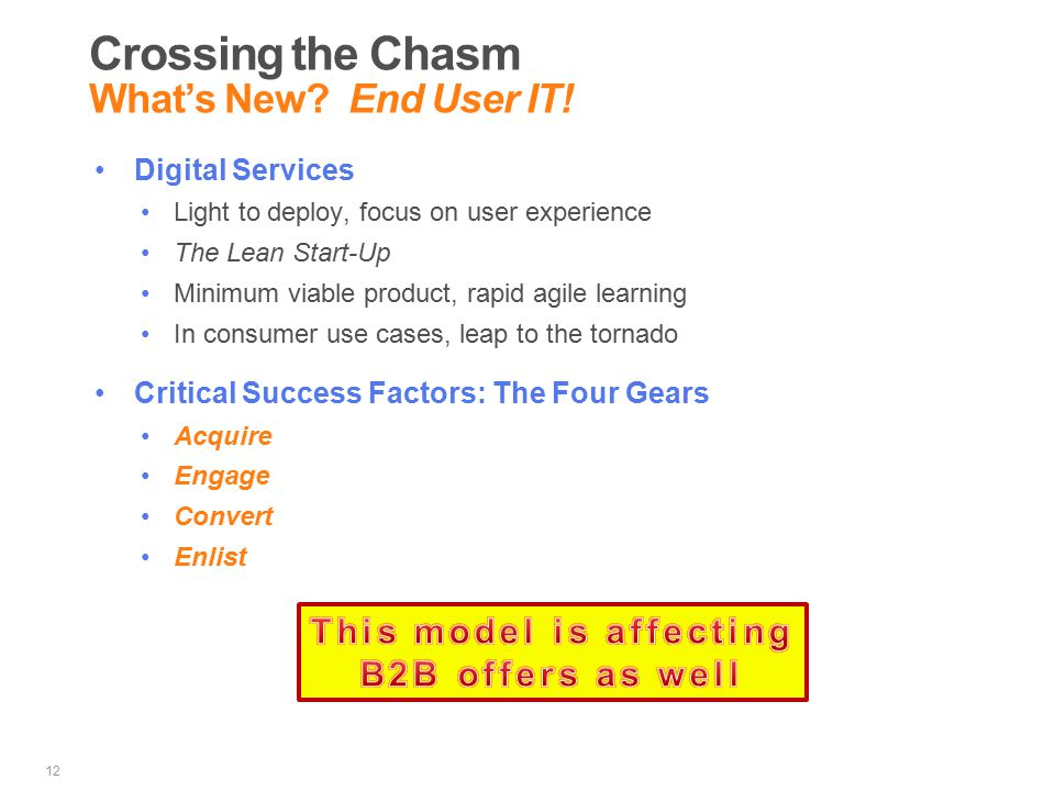 Crossing the Chasm What's New. End User IT.