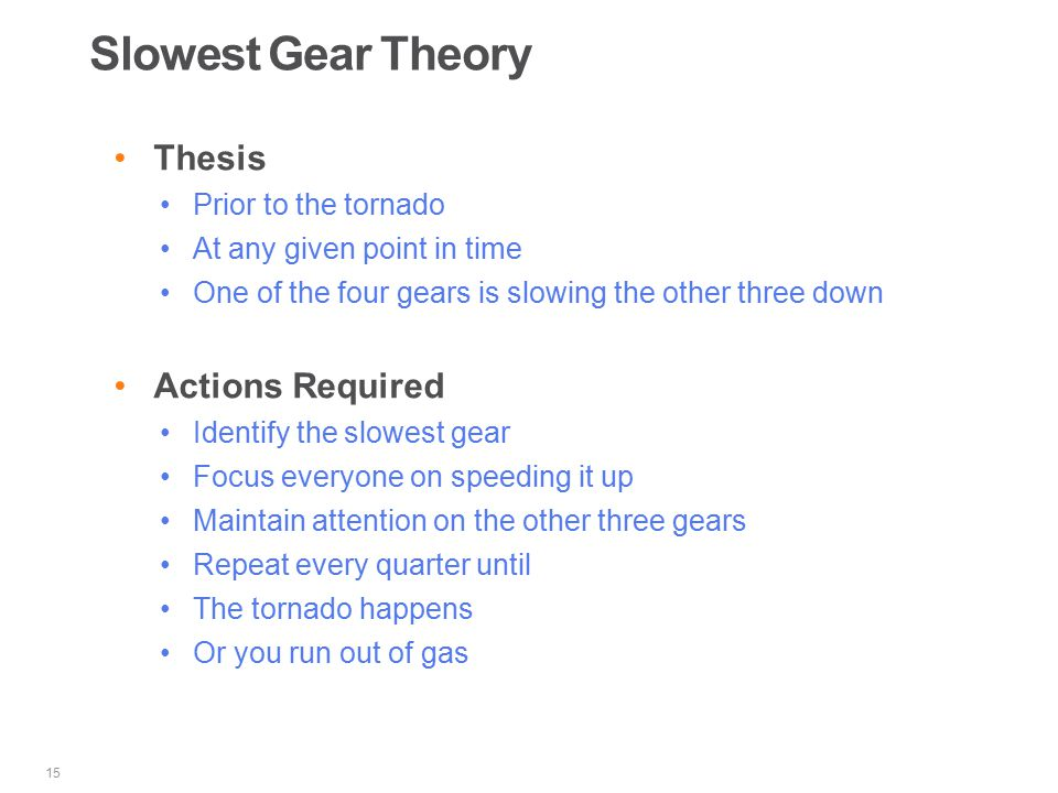 Slowest Gear Theory Thesis Prior to the tornado At any given point in time One of the four gears is slowing the other three down Actions Required Identify the slowest gear Focus everyone on speeding it up Maintain attention on the other three gears Repeat every quarter until The tornado happens Or you run out of gas 15