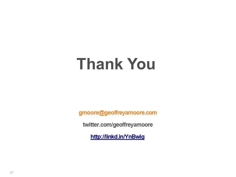 gmoore@geoffreyamoore.com twitter.com/geoffreyamoore http://linkd.in/YnBwig 21 Thank You