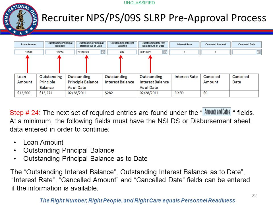 UNCLASSIFIED The Right Number, Right People, and Right Care equals Personnel Readiness Recruiter NPS/PS/09S SLRP Pre-Approval Process 22 Step # 24: The next set of required entries are found under the fields.