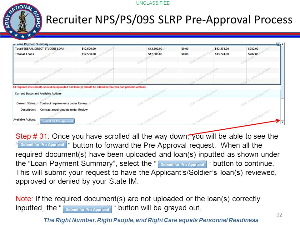 UNCLASSIFIED The Right Number, Right People, and Right Care equals Personnel Readiness Recruiter NPS/PS/09S SLRP Pre-Approval Process 32 Step # 31: On