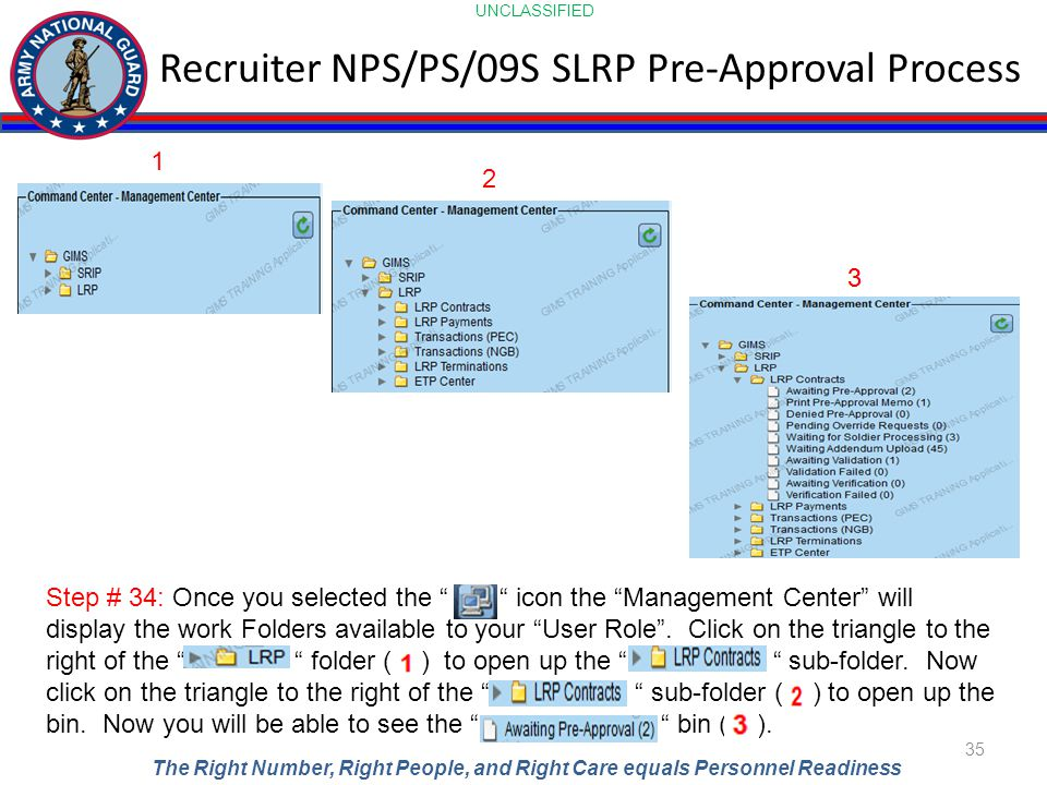 UNCLASSIFIED The Right Number, Right People, and Right Care equals Personnel Readiness Recruiter NPS/PS/09S SLRP Pre-Approval Process 35 Step # 34: On