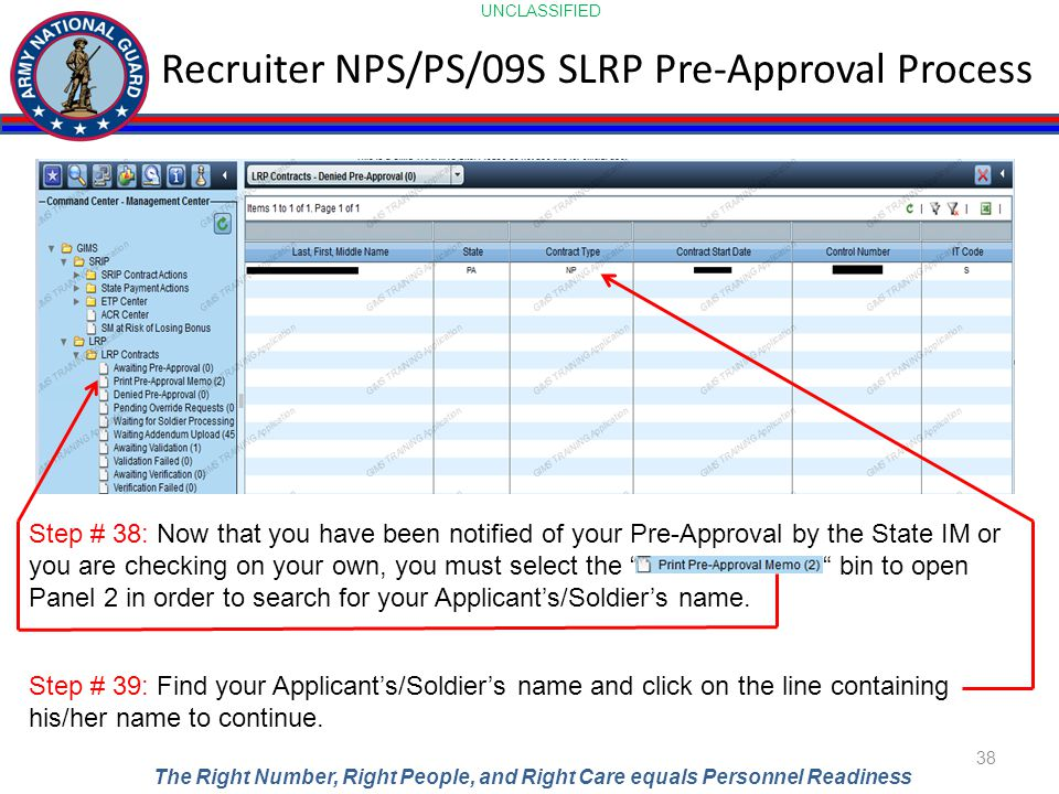 UNCLASSIFIED The Right Number, Right People, and Right Care equals Personnel Readiness Recruiter NPS/PS/09S SLRP Pre-Approval Process 38 Step # 38: No