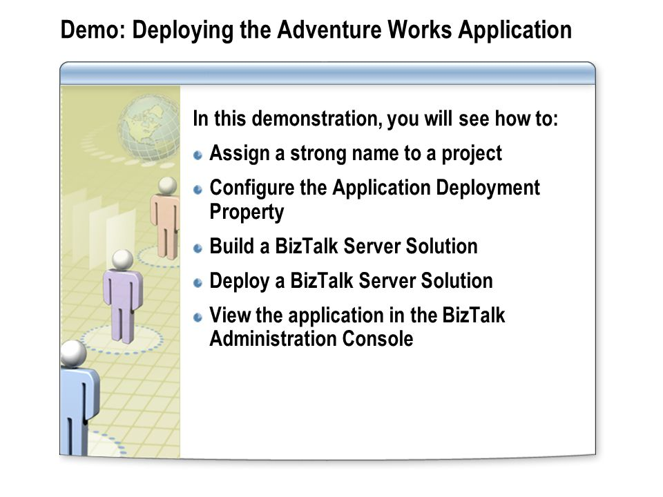Demo: Deploying the Adventure Works Application In this demonstration, you will see how to: Assign a strong name to a project Configure the Applicatio