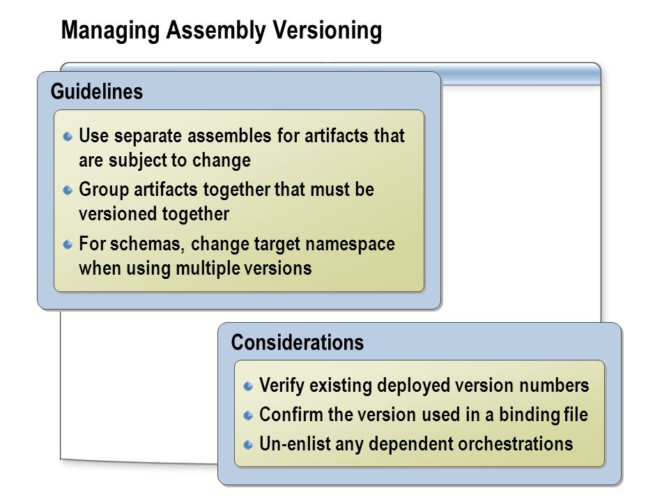 Managing Assembly Versioning Guidelines Use separate assembles for artifacts that are subject to change Group artifacts together that must be versione