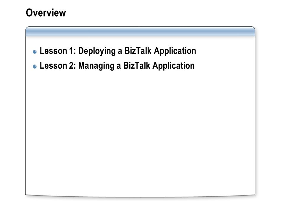 Lesson 1: Deploying a BizTalk Application How Deployment Works What Is a BizTalk Application.