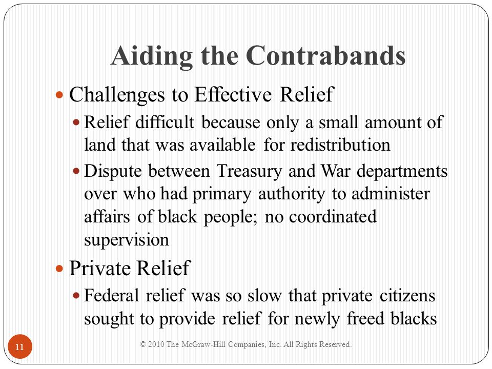 Aiding the Contrabands Challenges to Effective Relief Relief difficult because only a small amount of land that was available for redistribution Dispu