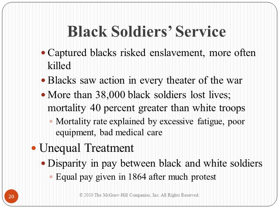Black Soldiers' Service Captured blacks risked enslavement, more often killed Blacks saw action in every theater of the war More than 38,000 black sol
