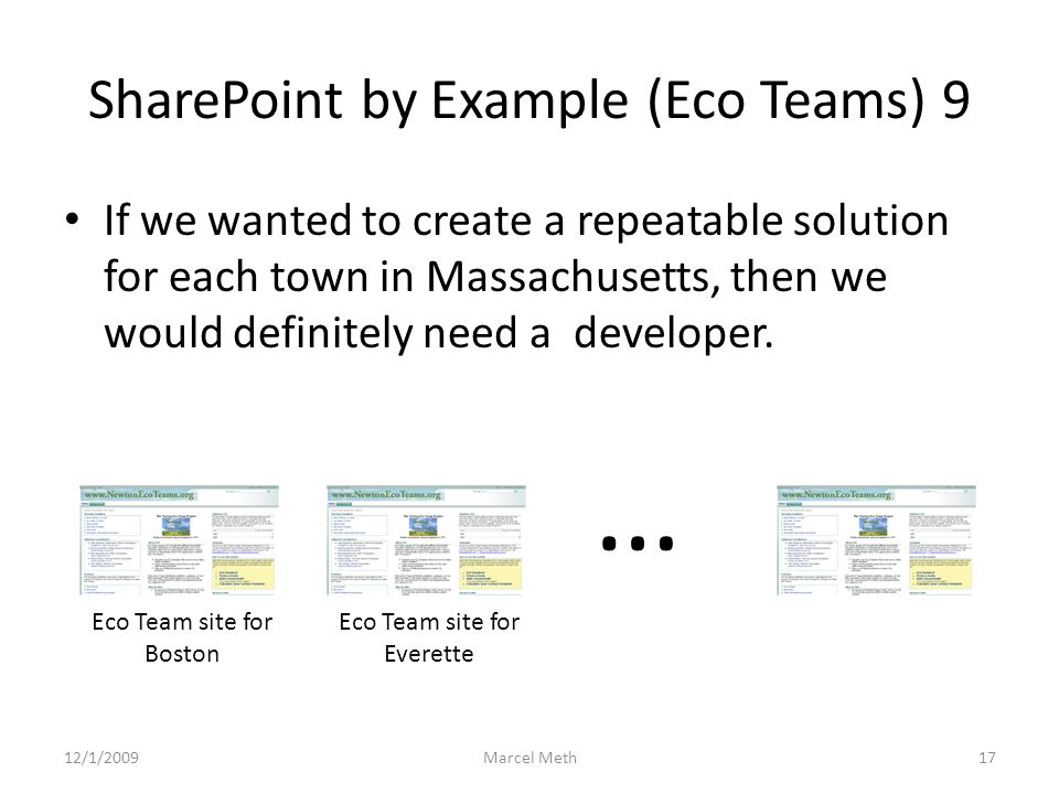 SharePoint by Example (Eco Teams) 9 If we wanted to create a repeatable solution for each town in Massachusetts, then we would definitely need a developer.