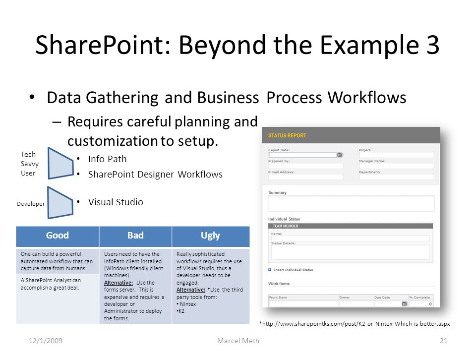 SharePoint: Beyond the Example 3 Data Gathering and Business Process Workflows – Requires careful planning and customization to setup.