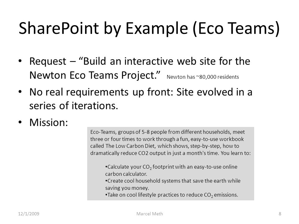 SharePoint by Example (Eco Teams) 2 What you should know – This site is hosted by apps4rent on a WSS server.