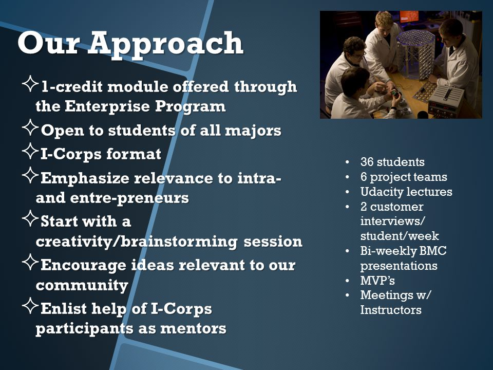 Our Approach  1-credit module offered through the Enterprise Program  Open to students of all majors  I-Corps format  Emphasize relevance to intra- and entre-preneurs  Start with a creativity/brainstorming session  Encourage ideas relevant to our community  Enlist help of I-Corps participants as mentors 36 students 6 project teams Udacity lectures 2 customer interviews/ student/week Bi-weekly BMC presentations MVP's Meetings w/ Instructors