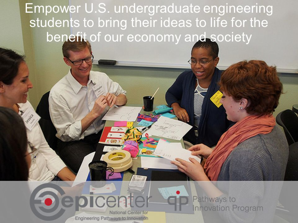 Empower U.S. undergraduate engineering students to bring their ideas to life for the benefit of our economy and society