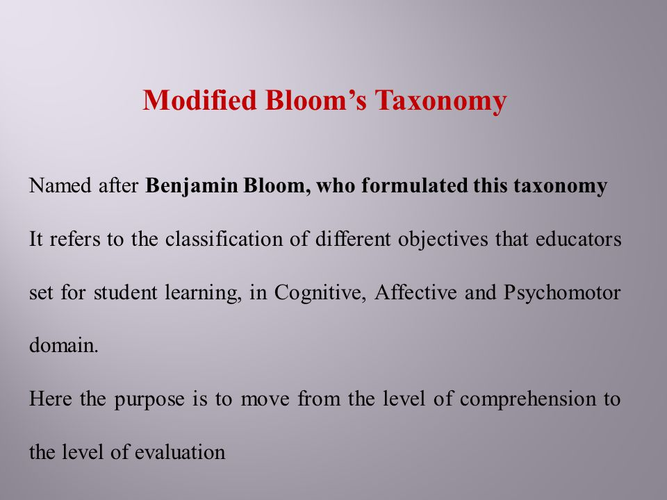 Modified Bloom's Taxonomy Named after Benjamin Bloom, who formulated this taxonomy It refers to the classification of different objectives that educat