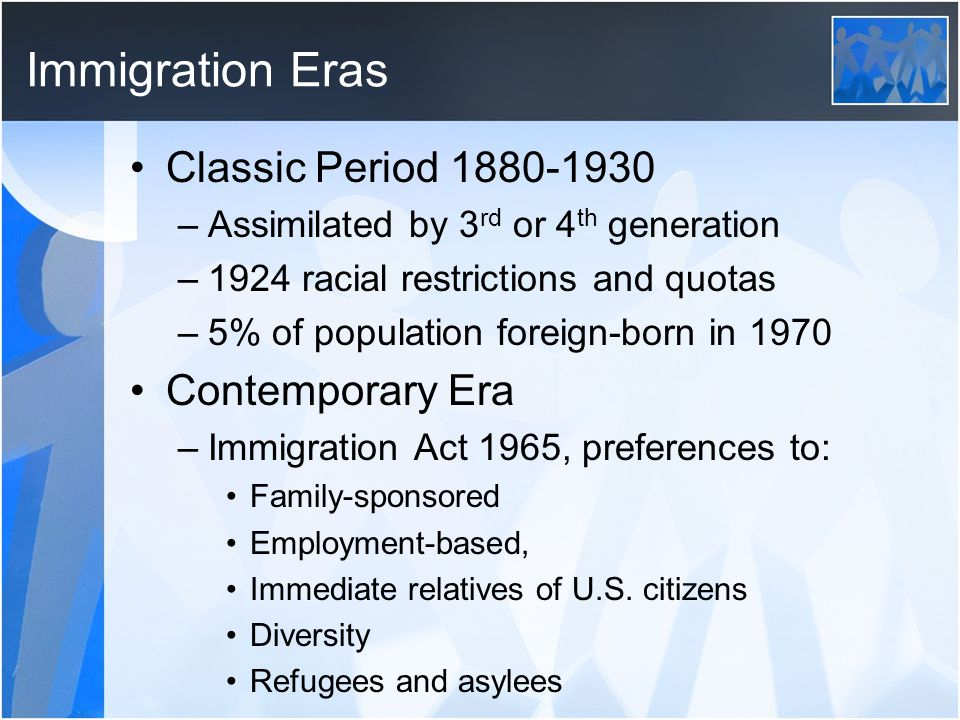 Immigration Eras Classic Period 1880-1930 –Assimilated by 3 rd or 4 th generation –1924 racial restrictions and quotas –5% of population foreign-born in 1970 Contemporary Era –Immigration Act 1965, preferences to: Family-sponsored Employment-based, Immediate relatives of U.S.