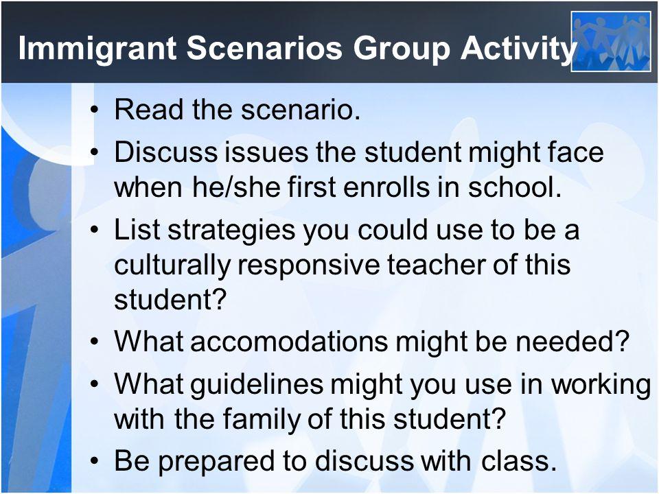 Immigrant Scenarios Group Activity Read the scenario.