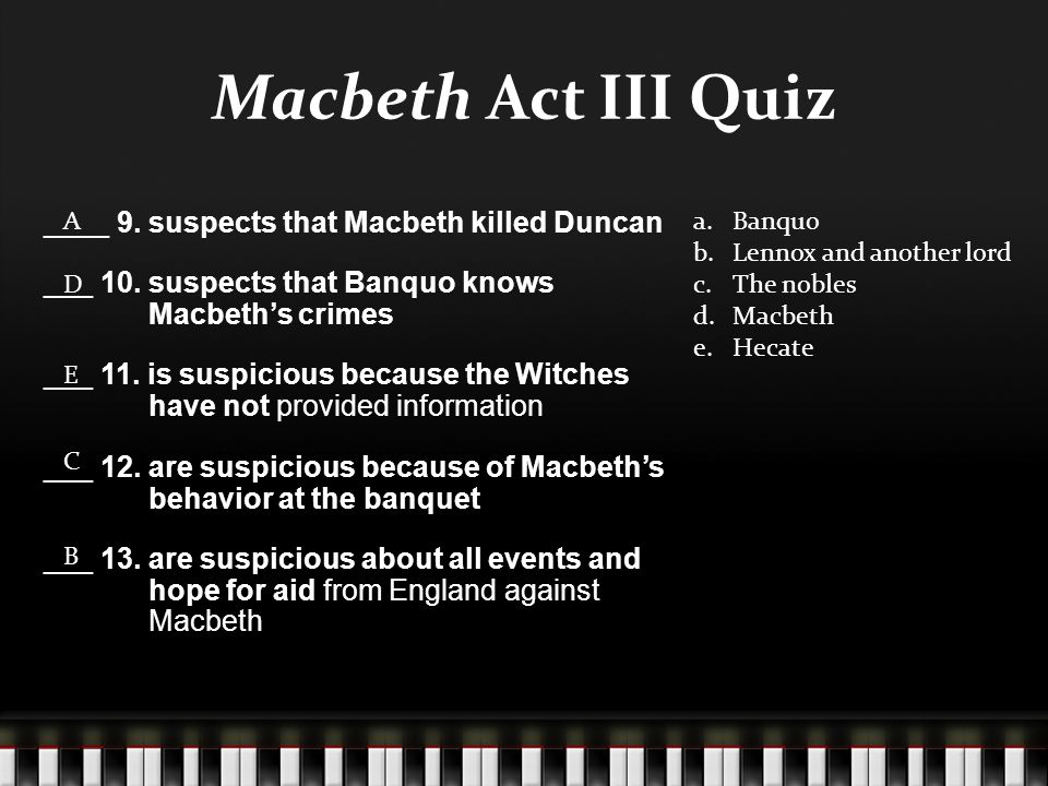 Macbeth Act III Quiz ____ 9. suspects that Macbeth killed Duncan ___ 10. suspects that Banquo knows Macbeth's crimes ___ 11. is suspicious because the