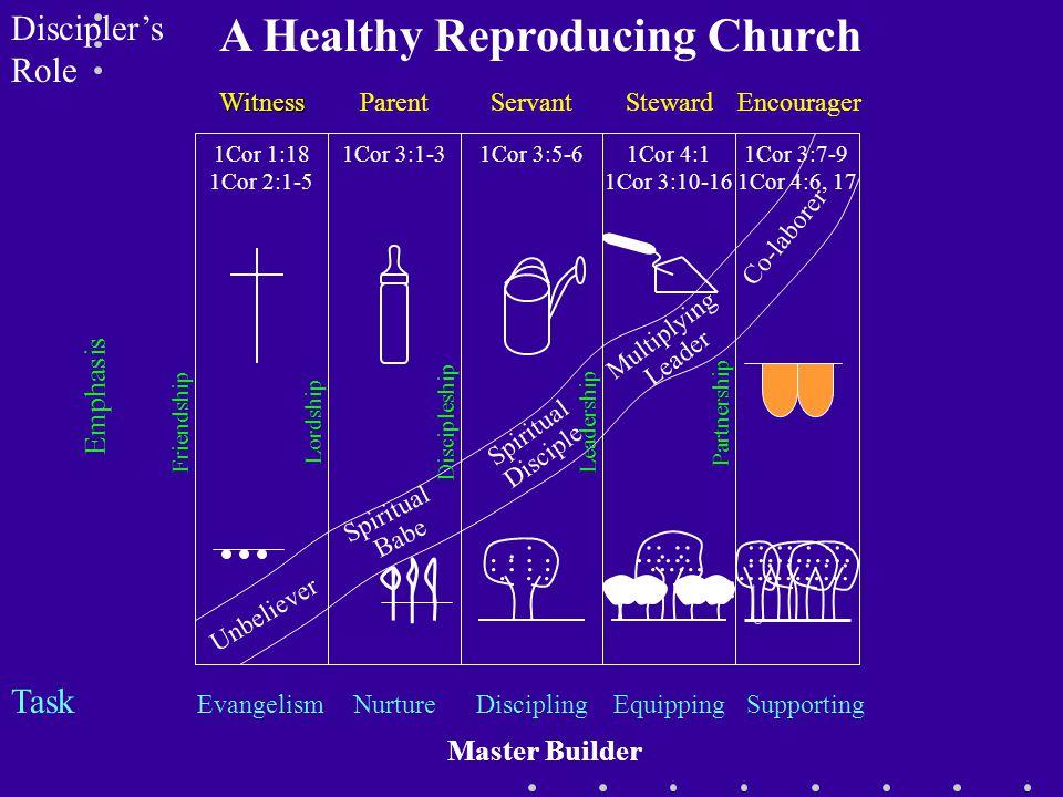 Discipler's Role Task Unbeliever Witness Evangelism 1Cor 1:18 1Cor 2:1-5 Spiritual Babe 1Cor 3:1-3 Parent Nurture Spiritual Disciple Discipling 1Cor 3:5-6 Servant.....