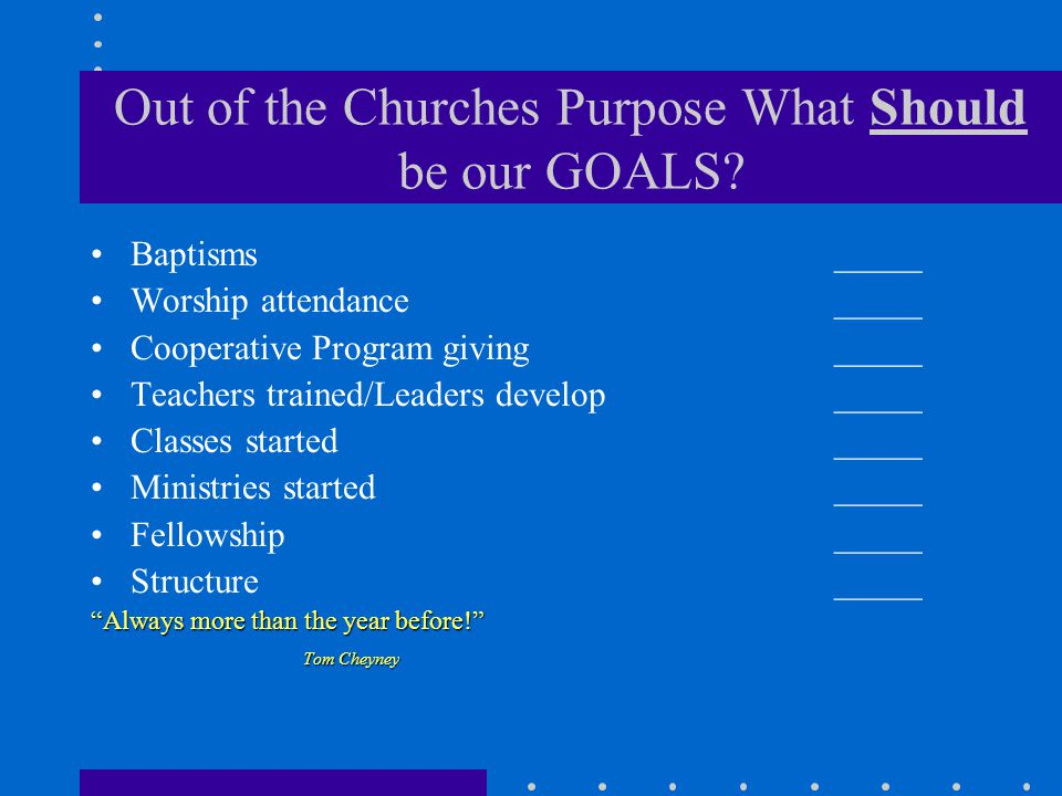 Out of the Churches Purpose What Should be our GOALS.