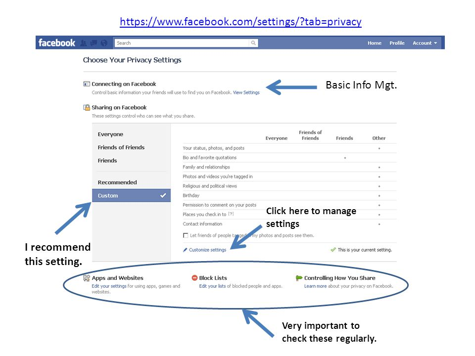 https://www.facebook.com/settings/?tab=privacy Basic Info Mgt. I recommend this setting. Click here to manage settings Very important to check these r
