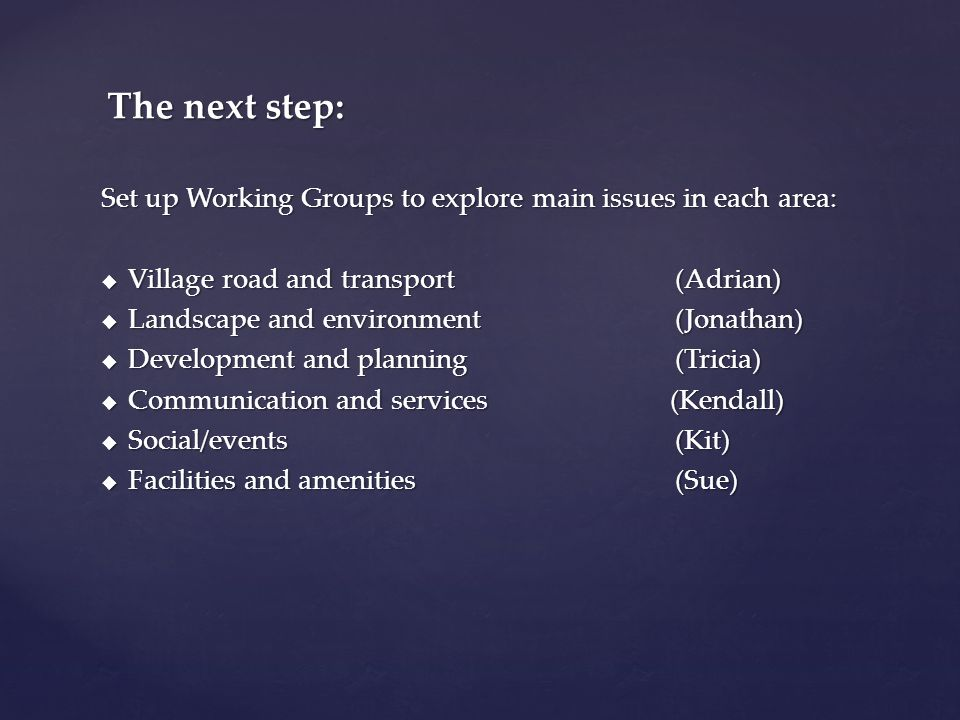 Set up Working Groups to explore main issues in each area:  Village road and transport (Adrian)  Landscape and environment (Jonathan)  Development and planning (Tricia)  Communication and services (Kendall)  Social/events (Kit)  Facilities and amenities (Sue) The next step: