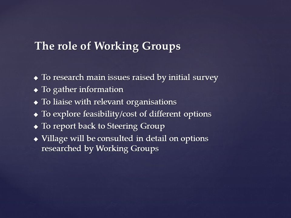  To research main issues raised by initial survey  To gather information  To liaise with relevant organisations  To explore feasibility/cost of different options  To report back to Steering Group  Village will be consulted in detail on options researched by Working Groups The role of Working Groups