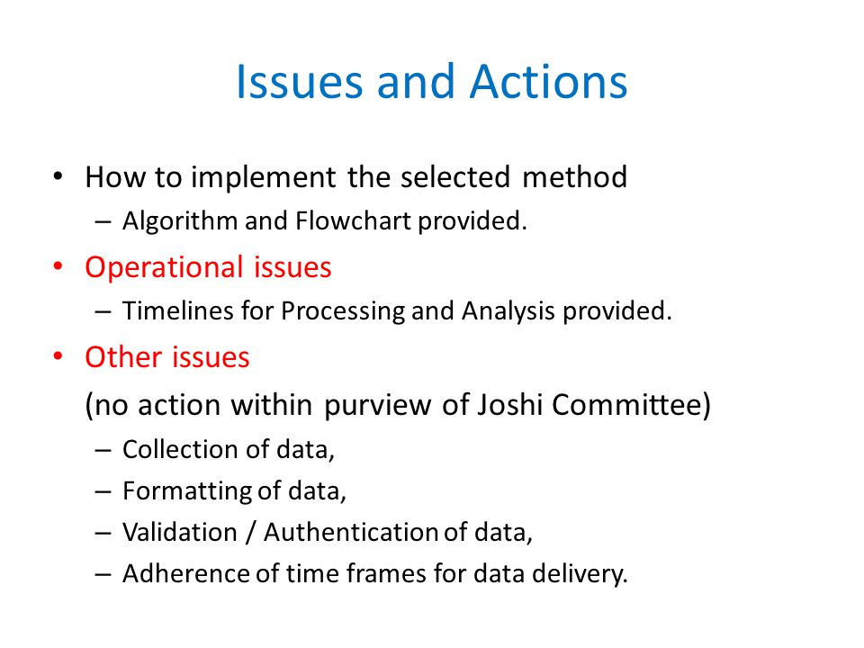 Issues and Actions How to implement the selected method – Algorithm and Flowchart provided.