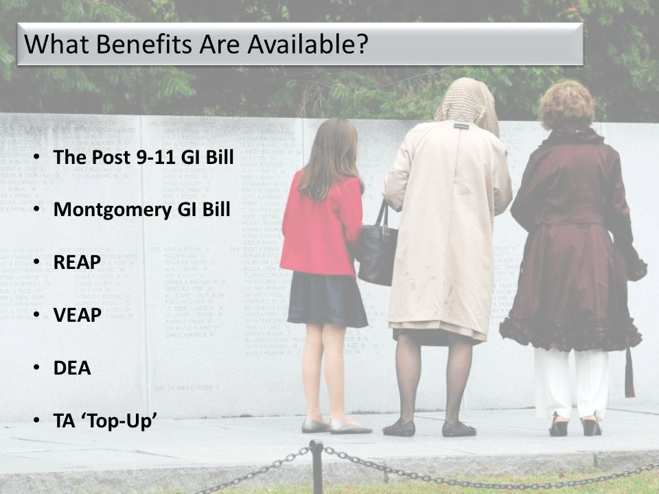 The Post 9-11 GI Bill Montgomery GI Bill REAP VEAP DEA TA 'Top-Up' What Benefits Are Available