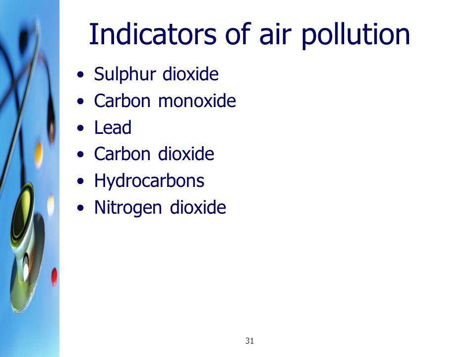Indicators of air pollution Sulphur dioxide Carbon monoxide Lead Carbon dioxide Hydrocarbons Nitrogen dioxide 31
