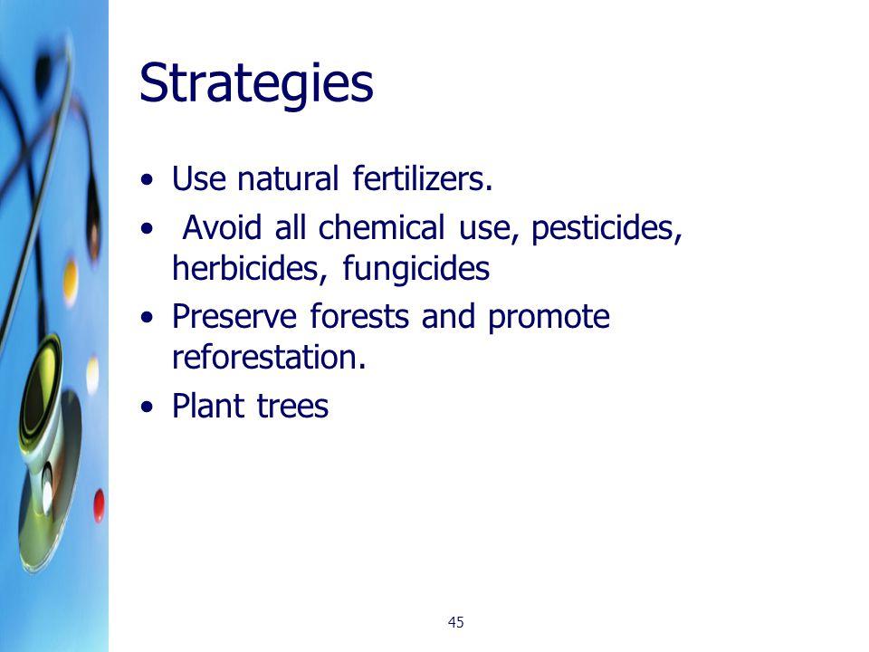 Strategies Use natural fertilizers.