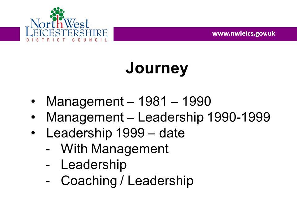 www.nwleics.gov.uk Journey Management – 1981 – 1990 Management – Leadership 1990-1999 Leadership 1999 – date - With Management - Leadership - Coaching / Leadership
