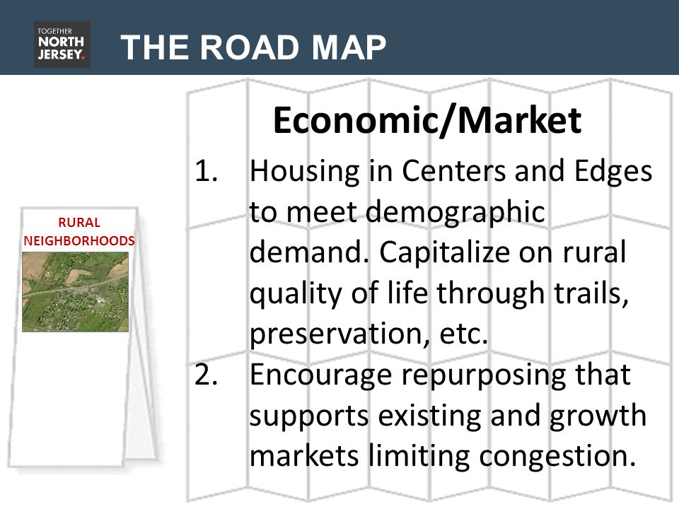 THE ROAD MAP Economic/Market RURAL NEIGHBORHOODS 1.Housing in Centers and Edges to meet demographic demand. Capitalize on rural quality of life throug