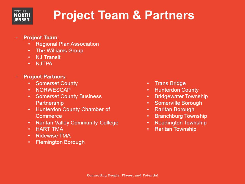 Project Team & Partners -Project Team: Regional Plan Association The Williams Group NJ Transit NJTPA -Project Partners: Somerset County NORWESCAP Some