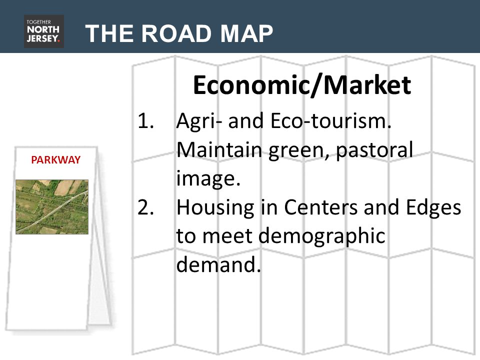 THE ROAD MAP Economic/Market PARKWAY 1.Agri- and Eco-tourism.