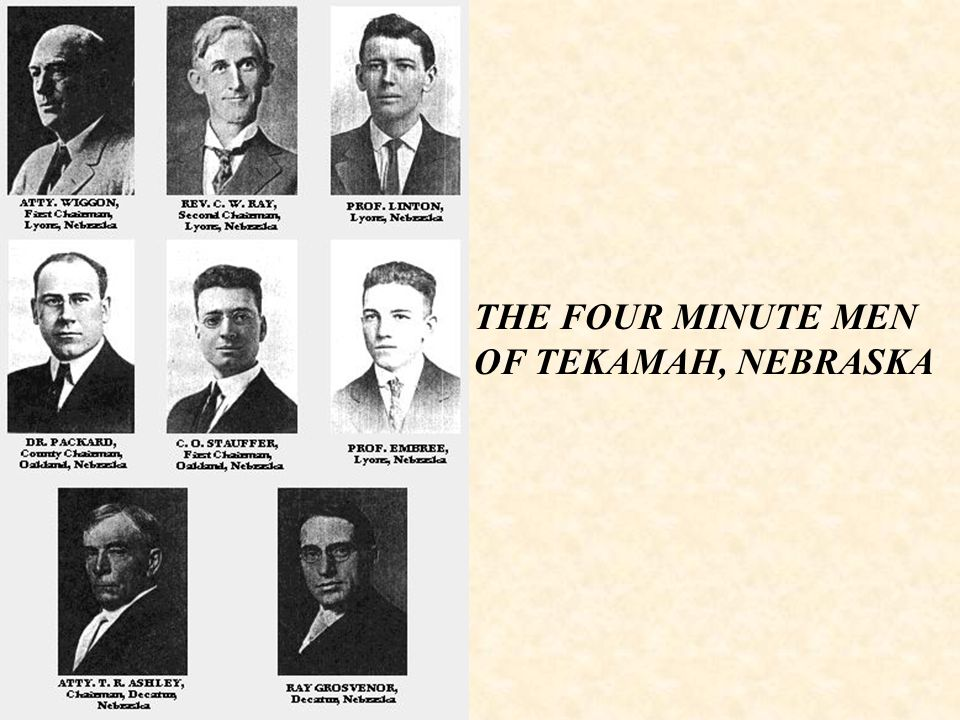 THE FOUR MINUTE MEN OF TEKAMAH, NEBRASKA