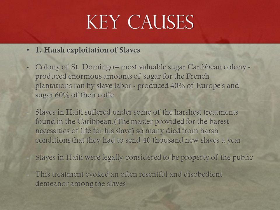 KEY Causes 1. Harsh exploitation of Slaves 1. Harsh exploitation of Slaves -Colony of St.