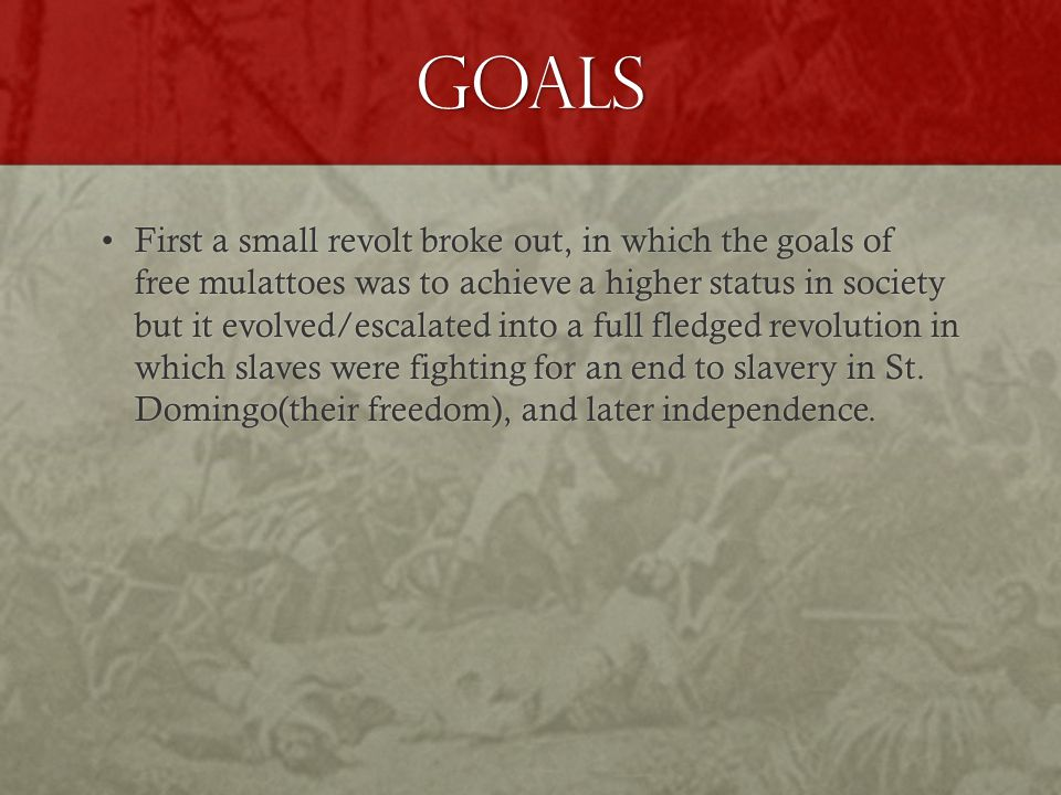 Goals First a small revolt broke out, in which the goals of free mulattoes was to achieve a higher status in society but it evolved/escalated into a full fledged revolution in which slaves were fighting for an end to slavery in St.