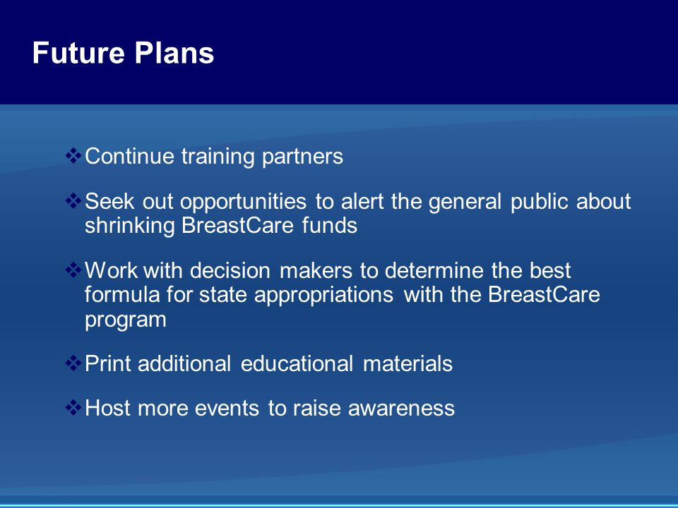 Future Plans  Continue training partners  Seek out opportunities to alert the general public about shrinking BreastCare funds  Work with decision makers to determine the best formula for state appropriations with the BreastCare program  Print additional educational materials  Host more events to raise awareness