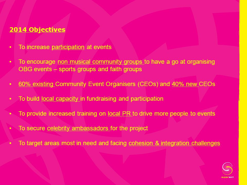 2014 Objectives To increase participation at events To encourage non musical community groups to have a go at organising OBG events – sports groups an