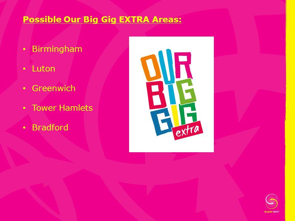 Possible Our Big Gig EXTRA Areas: Birmingham Luton Greenwich Tower Hamlets Bradford