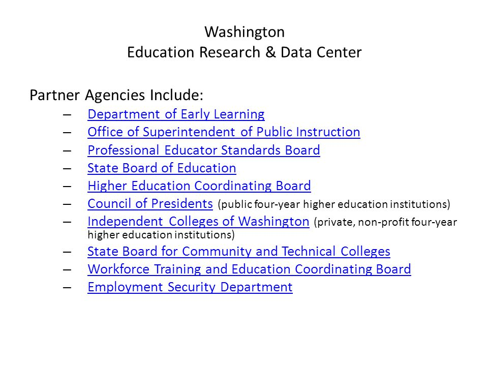 Washington Education Research & Data Center Established in state law Created in 2007 when lack of longitudinal data spanning education sectors was rec