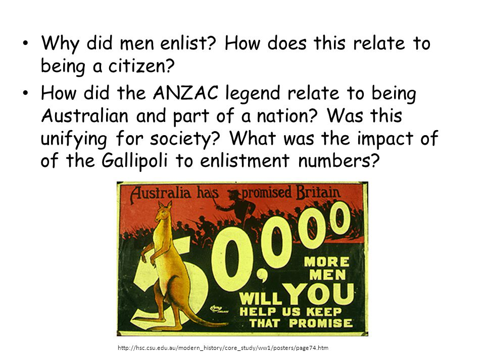 Why did men enlist? How does this relate to being a citizen? How did the ANZAC legend relate to being Australian and part of a nation? Was this unifyi