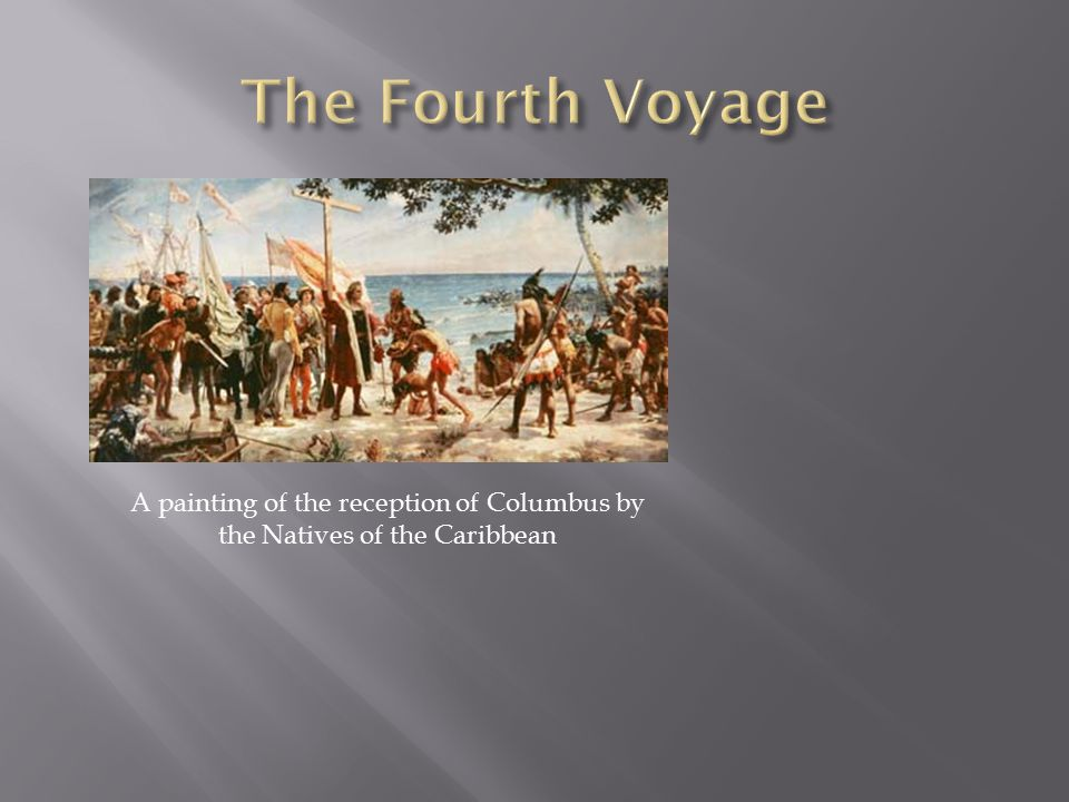 A painting of the reception of Columbus by the Natives of the Caribbean