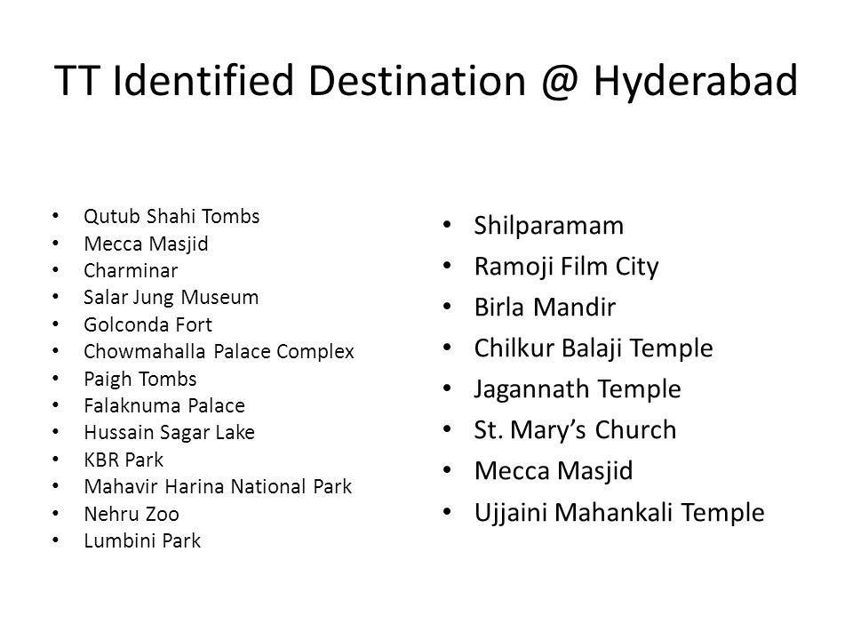 TT Identified Destination @ Hyderabad Qutub Shahi Tombs Mecca Masjid Charminar Salar Jung Museum Golconda Fort Chowmahalla Palace Complex Paigh Tombs