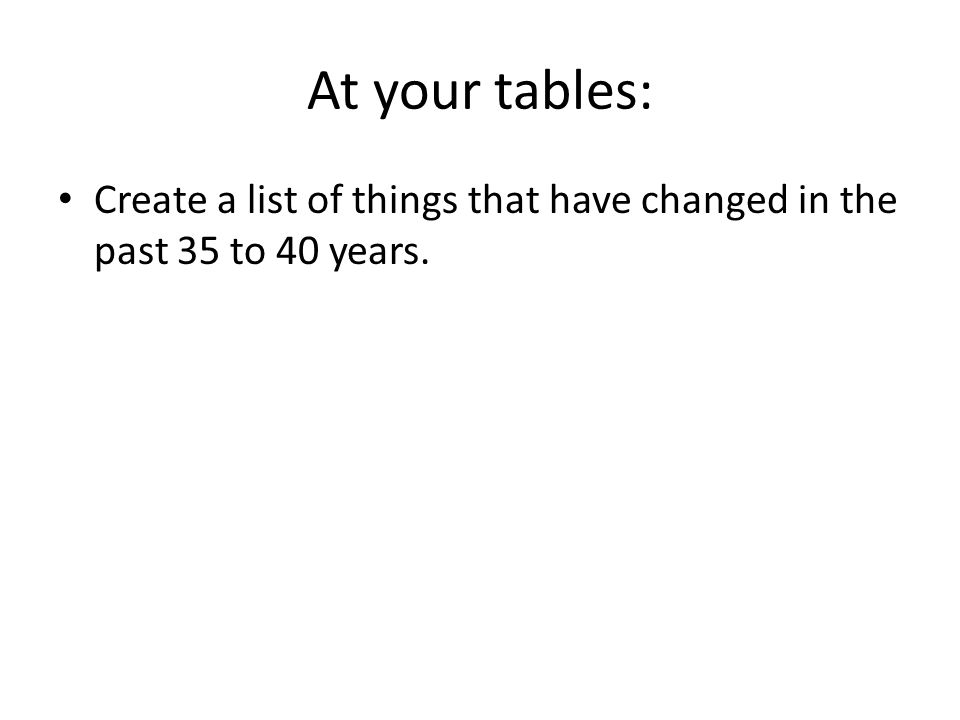 At your tables: Create a list of things that have changed in the past 35 to 40 years.