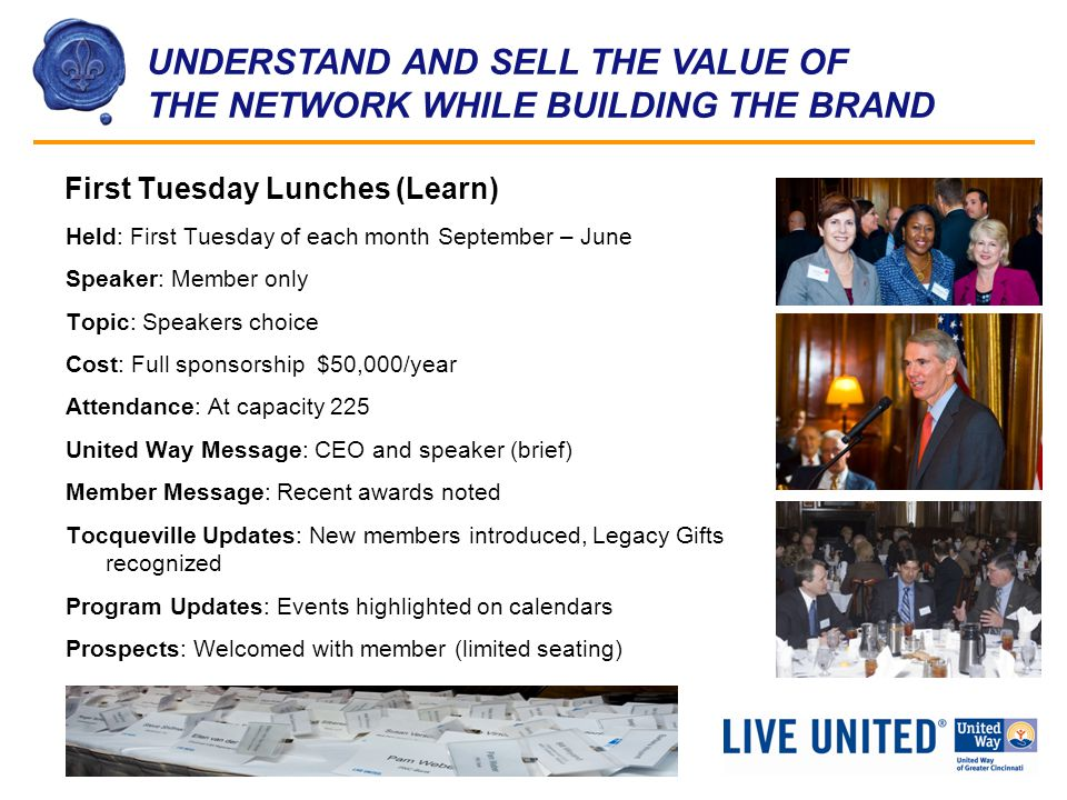 UNDERSTAND AND SELL THE VALUE OF THE NETWORK WHILE BUILDING THE BRAND First Tuesday Lunches (Learn) Held: First Tuesday of each month September – June Speaker: Member only Topic: Speakers choice Cost: Full sponsorship $50,000/year Attendance: At capacity 225 United Way Message: CEO and speaker (brief) Member Message: Recent awards noted Tocqueville Updates: New members introduced, Legacy Gifts recognized Program Updates: Events highlighted on calendars Prospects: Welcomed with member (limited seating)