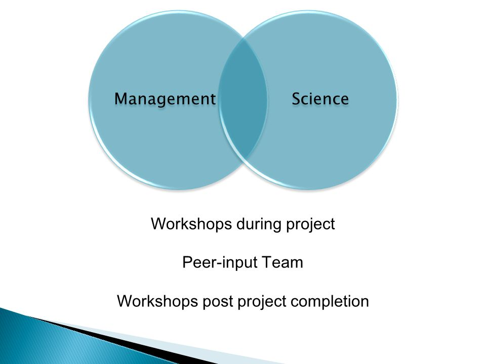 ManagementScience Workshops during project Peer-input Team Workshops post project completion