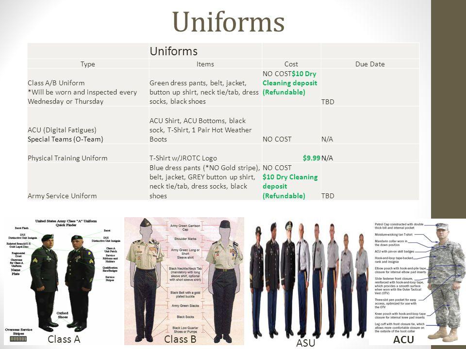 Uniforms TypeItemsCostDue Date Class A/B Uniform *Will be worn and inspected every Wednesday or Thursday Green dress pants, belt, jacket, button up shirt, neck tie/tab, dress socks, black shoes NO COST$10 Dry Cleaning deposit (Refundable) TBD ACU (Digital Fatigues) Special Teams (O-Team) ACU Shirt, ACU Bottoms, black sock, T-Shirt, 1 Pair Hot Weather BootsNO COSTN/A Physical Training UniformT-Shirt w/JROTC Logo$9.99N/A Army Service Uniform Blue dress pants (*NO Gold stripe), belt, jacket, GREY button up shirt, neck tie/tab, dress socks, black shoes NO COST $10 Dry Cleaning deposit (Refundable)TBD Class AClass B ACU ASU Uniforms