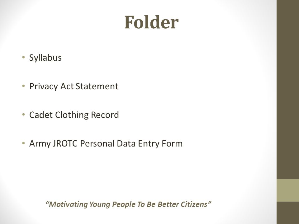 Folder Syllabus Privacy Act Statement Cadet Clothing Record Army JROTC Personal Data Entry Form Motivating Young People To Be Better Citizens
