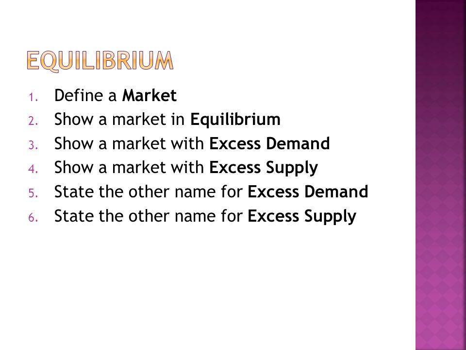 1. Define a Market 2. Show a market in Equilibrium 3.